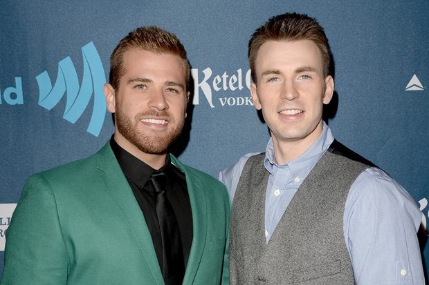 LOS ANGELES, CA - APRIL 20: Actors Scott Evans (L) and Chris Evans arrive at the 24th Annual GLAAD Media Awards presented by Ketel One and Wells Fargo at JW Marriott Los Angeles at L.A. LIVE on April 20, 2013 in Los Angeles, California. (Photo by Jason Merritt/Getty Images for GLAAD)